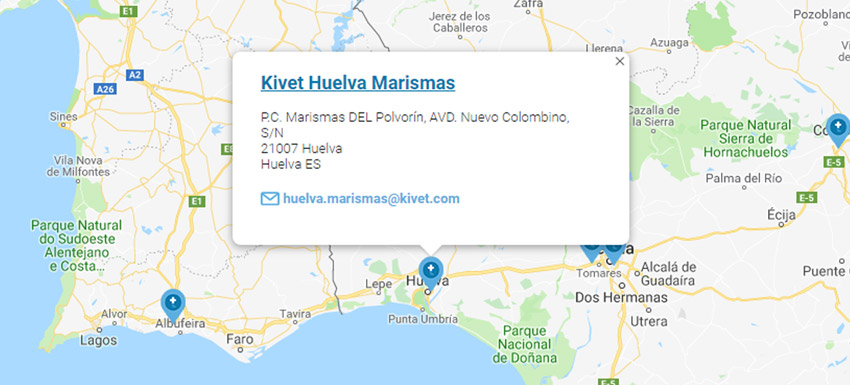 Mapa clínica Kivet Huelva Marisma